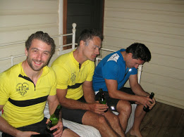 Simon Di Meo, Graydon Staniforth and Doug Hayter feel the pain after riding 195km