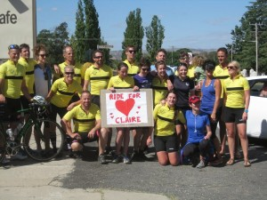 Some of the group of riders at the completion of the Young to Jugiong leg
